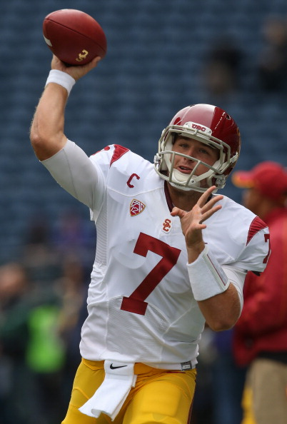 SEATTLE, WA - OCTOBER 13:  Quarterback Matt Barkley #7 of the USC Trojans warms up prior to the game against the Washington Huskies on October 13, 2012 at CenturyLink Field in Seattle, Washington.  (Photo by Otto Greule Jr/Getty Images)