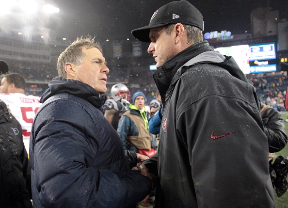 FOXBORO, MA - DECEMBER 16:  Bill Belichick of the New England Patriots shakes hands with Jim Harbaugh of the San Francisco 49ers after a 41-34 loss at Gillette Stadium on December 16, 2012 in Foxboro, Massachusetts. (Photo by Jim Rogash/Getty Images)