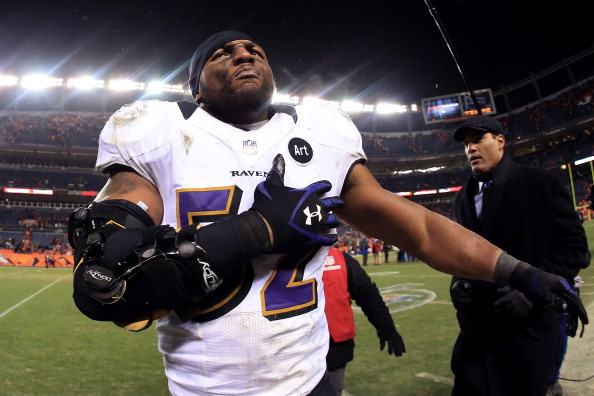 DENVER, CO - JANUARY 12:  Ray Lewis #52 of the Baltimore Ravens celebrates as he walks off of the field after the Ravens won 38-35 in the second overtime against the Denver Broncos during the AFC Divisional Playoff Game at Sports Authority Field at Mile High on January 12, 2013 in Denver, Colorado.  (Photo by Doug Pensinger/Getty Images)