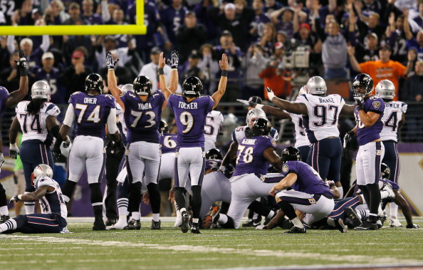 BALTIMORE, MD - SEPTEMBER 23: Kicker Justin Tucker #9 of the Baltimore Ravens celebrates after hitting the game winning field goal to give the Ravens a 31-30 win over the New England Patriots at M&T Bank Stadium on September 23, 2012 in Baltimore, Maryland.  (Photo by Rob Carr/Getty Images)
