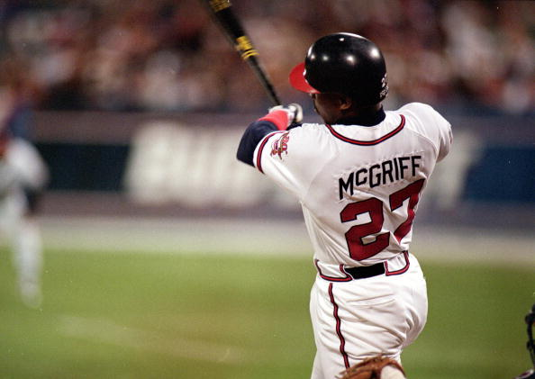 24 Oct 1995: Fred McGriff #27 of the Atlanta Braves hits a home run during a game against the Cleveland Indians at the Fulton County Stadium in Atlanta, Georgia. The Braves defeated the Indians 3-2.
