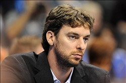 Dec 7, 2012; Oklahoma City, OK, USA; Los Angeles Lakers forward Pau Gasol (16) watches against the Oklahoma City Thunder during the second half at Chesapeake Energy Arena.  Mandatory Credit: Mark D. Smith-USA TODAY Sports