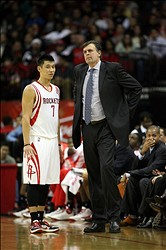 Jan 15, 2013; Houston, TX, USA; Houston Rockets point guard Jeremy Lin (7) talks to head coach Kevin McHale against the Los Angeles Clippers in the second quarter at the Toyota Center. Mandatory Credit: Brett Davis-USA TODAY Sports