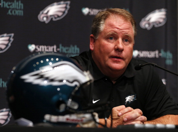 PHILADELPHIA, PA - JANUARY 17: Chip Kelly is introduced as the new head coach of the Philadelphia Eagles during a news conference at the team's NovaCare Complex on January 17, 2013 in Philadelphia, Pennsylvania. The former Oregon coach surprised many after he initially turned down NFL clubs saying he would remain at Oregon. (Photo by Rich Schultz /Getty Images)