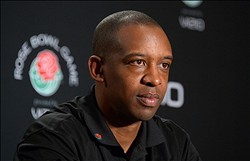 Dec, 28, 2012; Los Angeles, CA, USA; Stanford Cardinal offensive coordinator Pep Hamilton at press conference for the 2013 Rose Bowl at the L.A. Hotel Downtown. Mandatory Credit: Kirby Lee/Image of Sport-USA TODAY Sports