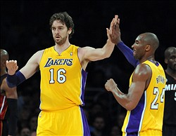 January 17, 2013;  Los Angeles, CA, USA;    Los Angeles Lakers shooting guard Kobe Bryant (24) and power forward Pau Gasol (16) high five in the second half of the game against the Miami Heat at the Staples Center. Heat won 99-90. Mandatory Credit: Jayne Kamin-Oncea-USA TODAY Sports