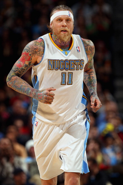 DENVER, CO - FEBRUARY 14:  Chris Andersen #11 of the Denver Nuggets heads up court against the Phoenix Suns at the Pepsi Center on February 14, 2012 in Denver, Colorado. The Nuggets defeated the Suns 109-92. NOTE TO USER: User expressly acknowledges and agrees that, by downloading and or using this Photograph, user is consenting to the terms and conditions of the Getty Images License Agreement.  (Photo by Doug Pensinger/Getty Images)