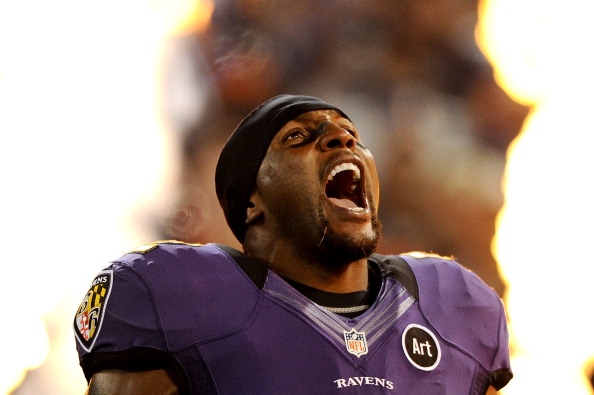 BALTIMORE, MD - SEPTEMBER 23: Linebacker Ray Lewis #52 of the Baltimore Ravens is introduced before playing against the New England Patriots at M&T Bank Stadium on September 23, 2012 in Baltimore, Maryland. (Photo by Patrick Smith/Getty Images)