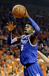Jan 19, 2013; Auburn, AL, USA: Kentucky Wildcats forward Nerlens Noel (3) takes a shot against the Auburn Tigers during the first half at Auburn Arena.  Mandatory Credit: John Reed-USA TODAY Sports