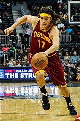 Nov 30, 2012; Atlanta, GA, USA; Cleveland Cavaliers center Anderson Varejao (17) drives to the basket in the first half against the Atlanta Hawks at Philips Arena. Mandatory Credit: Daniel Shirey-USA TODAY Sports