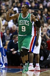 January 20, 2013; Auburn Hills, MI, USA; Boston Celtics point guard Rajon Rondo (9) reacts after making a basket in the fourth quarter against the Detroit Pistons at The Palace. Mandatory Credit: Rick Osentoski-USA TODAY Sports