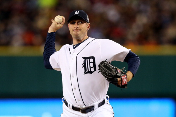 DETROIT, MI - OCTOBER 28:  Max Scherzer #37 of the Detroit Tigers throws a pitch against the San Francisco Giants in the first inning during Game Four of the Major League Baseball World Series at Comerica Park on October 28, 2012 in Detroit, Michigan.  (Photo by Ezra Shaw/Getty Images)