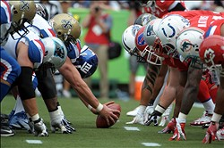Jan 30, 2011; Honolulu, HI, USA; General view of the line of scrimmage as NFC center Zak DeOssie of New York Giants (51) during the 2011 Pro Bowl at Aloha Stadium. Mandatory Credit: Kirby Lee/Image of Sport-USA TODAY Sports