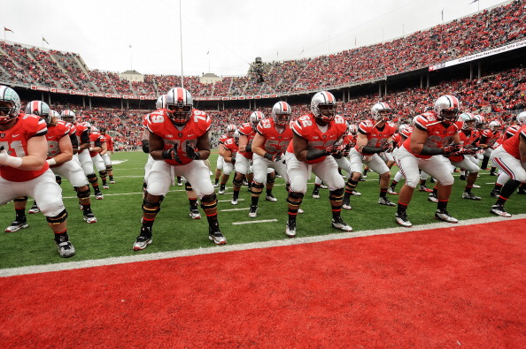 COLUMBUS, OH - NOVEMBER 24: The Ohio State Buckeyes warm up before their game against the Michigan Wolverines at Ohio Stadium on November 24, 2012 in Columbus, Ohio. (Photo by Jamie Sabau/Getty Images)