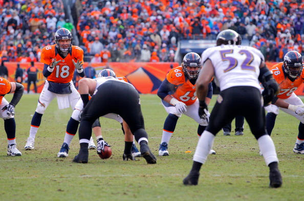 DENVER, CO - JANUARY 12:  Peyton Manning #18 of the Denver Broncos calls signals out in the shotgun formation behind the linne of scrimmage against Ray Lewis #52 of the Baltimore Ravens during the AFC Divisional Playoff Game at Sports Authority Field at Mile High on January 12, 2013 in Denver, Colorado.  (Photo by Doug Pensinger/Getty Images)