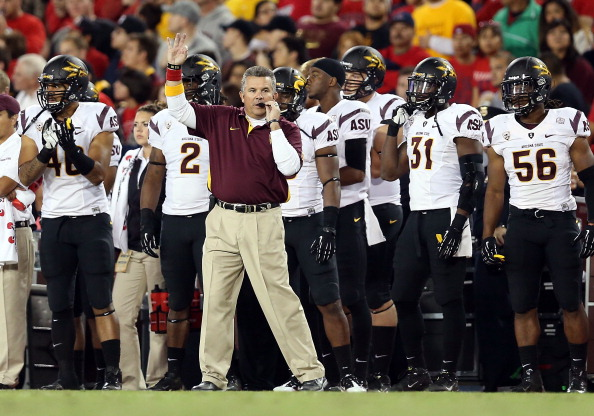 TUCSON, AZ - NOVEMBER 23:  Head coach Todd Graham of the Arizona State Sun Devils reacts during the college football game against the Arizona Wildcats at Arizona Stadium on November 23, 2012 in Tucson, Arizona. The Sun Devils defeated the Wildcats 41-34. (Photo by Christian Petersen/Getty Images)