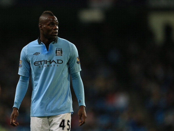 MANCHESTER, ENGLAND - JANUARY 05:  Mario Balotelli of Manchester City in action during the FA Cup with Budweiser Third Round match between Manchester City and Watford at The Etihad Stadium on January 5, 2013 in Manchester, England.  (Photo by Richard Heathcote/Getty Images)