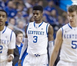 Jan 2, 2013; Lexington, KY, USA; Kentucky Wildcats forward Nerlens Noel (3) reacts during the game against the Eastern Michigan Eagles at Rupp Arena. Mandatory Credit: Mark Zerof-USA TODAY Sports