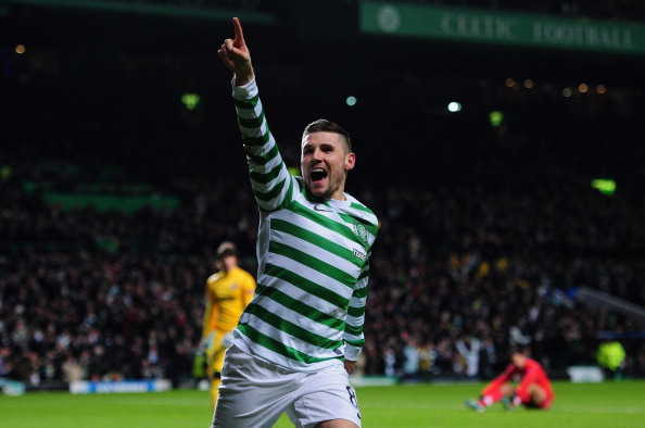 GLASGOW, SCOTLAND - DECEMBER 05:  Celtic striker Gary Hooper celebrates after scoring the first goal during the  UEFA Champions League Group G match between Celtic FC and FC Spartak Moscow at Celtic Park on December 5, 2012 in Glasgow, Scotland.  (Photo by Stu Forster/Getty Images)