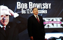 Jul 23, 2012; Dallas, TX, USA; Big 12 commissioner Bob Bowlsby speaks to reporters during Big 12 Media Day at the Westin Galleria.  Mandatory Credit: Kevin Jairaj-USA TODAY Sports