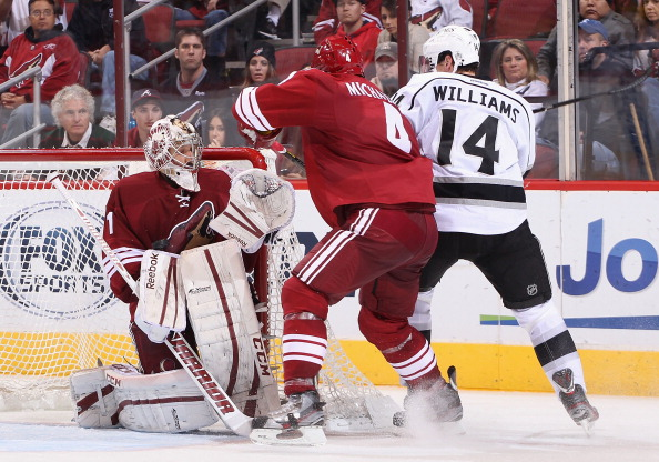 GLENDALE, AZ - JANUARY 26:  Goaltender Jason LaBarbera #1 of the Phoenix Coyotes makes a save on the shot from Justin Williams #14 of the Los Angeles Kings during the NHL game at Jobing.com Arena on January 26, 2013 in Glendale, Arizona.  The Kings defeated the Coyotes 4-2. (Photo by Christian Petersen/Getty Images)