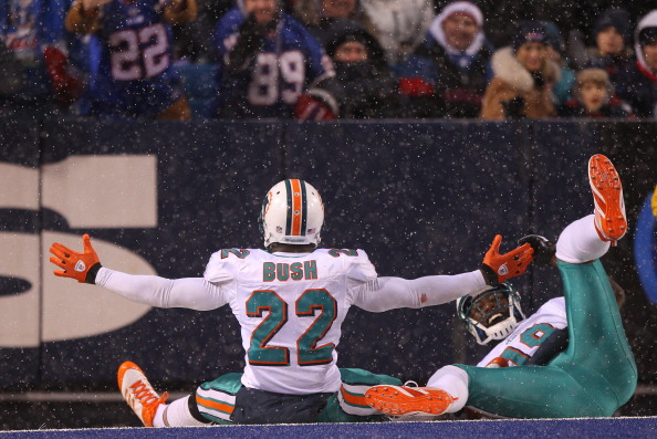 ORCHARD PARK, NY - DECEMBER 18: Reggie Bush #22 of the Miami Dolphins celebrates his touchdown with Brandon Marshall #19 during their NFL game against the Buffalo Bills at Ralph Wilson Stadium on December 18, 2011 in Orchard Park, New York. (Photo by Tom Szczerbowski/Getty Images)