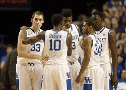 Dec 4, 2012; Lexington, KY, USA; Kentucky Wildcats forward Kyle Wiltjer (33), guard Archie Goodwin (10), forward Nerlens Noel (3), guard Julius Mays (34) and forward Alex Poythress (22) talk during a time out in the game against the Samford Bulldogs at Rupp Arena. Kentucky defeated Samford 88-56. Mandatory Credit: Mark Zerof-USA TODAY Sports