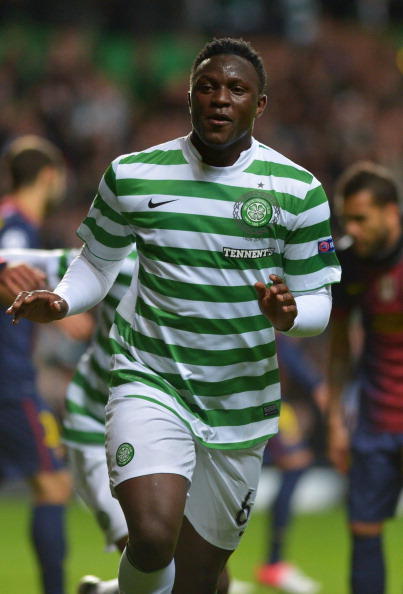 GLASGOW, SCOTLAND - NOVEMBER 07:  Victor Wanyama of Celtic celebrates after scoring during the UEFA Champions League Group G match between Celtic and Barcelona at Celtic Park on November 7, 2012 in Glasgow, Scotland..  (Photo by Jeff J Mitchell/Getty Images)