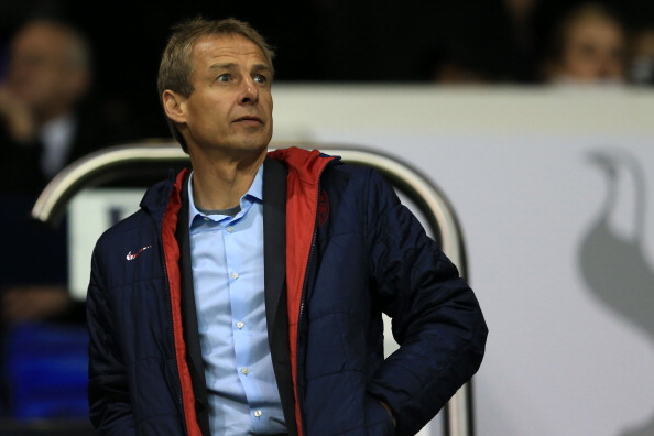 LONDON, ENGLAND - NOVEMBER 08:  Jürgen Klinsmann looks on during the UEFA Europa League group J match between Tottenham Hotspur FC and NK Maribor at White Hart Lane on November 8, 2012 in London, England.  (Photo by Richard Heathcote/Getty Images)