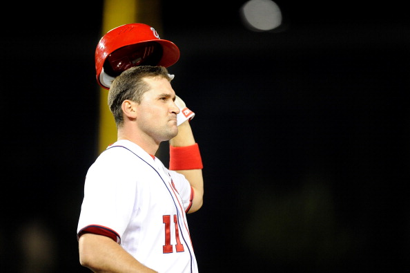 WASHINGTON, DC - APRIL 19:  Ryan Zimmerman #11 of the Washington Nationals takes off his batting helmet after making the final out in the sixth inning against the Houston Astros at Nationals Park on April 19, 2012 in Washington, DC. Houston won the game 11-4. (Photo by Greg Fiume/Getty Images)
