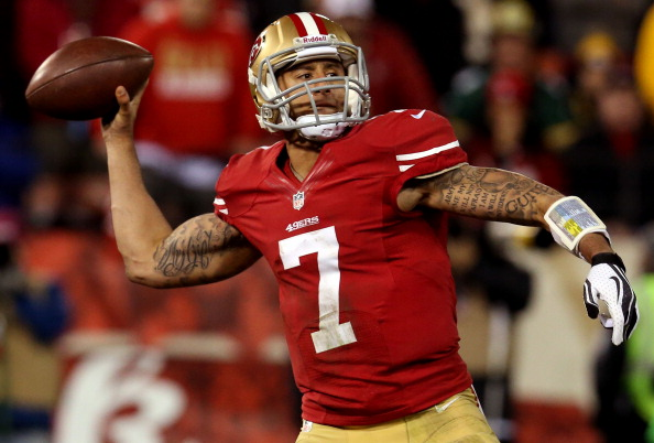 SAN FRANCISCO, CA - JANUARY 12:  Quarterback Colin Kaepernick #7 of the San Francisco 49ers throws the ball against the Green Bay Packers during the NFC Divisional Playoff Game at Candlestick Park on January 12, 2013 in San Francisco, California.  (Photo by Stephen Dunn/Getty Images)