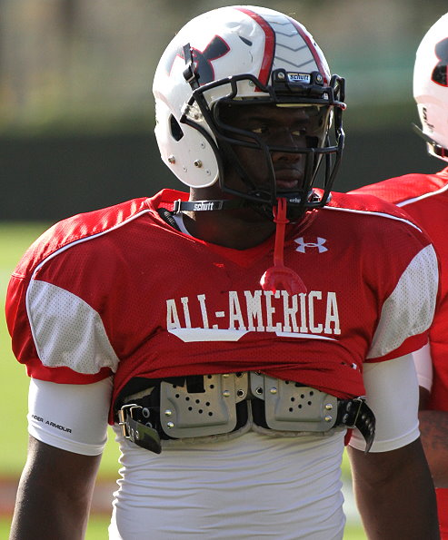 January 4, 2013; St. Petersburg, FL, USA; Team Nitro defnesive end Carl Lawson (52) prior to the the Under Armour All-America high school Game at Tropicana Field. Mandatory Credit: Kim Klement-USA TODAY Sports
