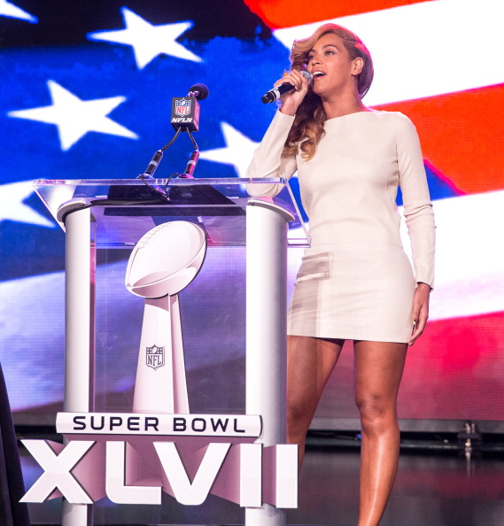 NEW ORLEANS, LA - JANUARY 31:  Beyonce speaks onstage at the Pepsi Super Bowl XLVII Halftime Show Press Conference at the Ernest N. Morial Convention Center on January 31, 2013 in New Orleans, Louisiana.  (Photo by Christopher Polk/Getty Images)