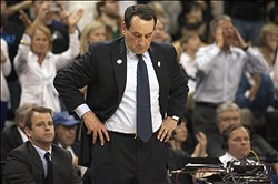 Jan 30, 2013; Winston Salem, NC, USA; Duke Blue Devils head coach Mike Krzyzewski reacts to a call during the second half against the Wake Forest Demon Deacons at Lawrence Joel Veterans Memorial Coliseum. Duke won 75-70. Mandatory Credit: Jeremy Brevard-USA TODAY Sports