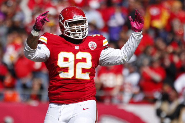 KANSAS CITY, MO - OCTOBER 07:   Dontari Poe #92 of the Kansas City Chiefs celebrates after breaking up a play  against the Baltimore Ravens offense in the fourth quarter on October 07, 2012 at Arrowhead Stadium in Kansas City, Missouri. (Photo by Kyle Rivas/Getty Images)