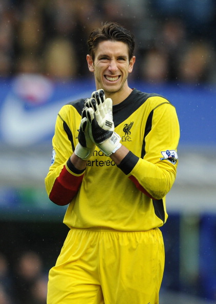 LIVERPOOL, ENGLAND - OCTOBER 28:   Brad Jones of Liverpool reacts during the Barclays Premier League match between Everton and Liverpool at Goodison Park on October 28, 2012 in Liverpool, England.  (Photo by Chris Brunskill/Getty Images)