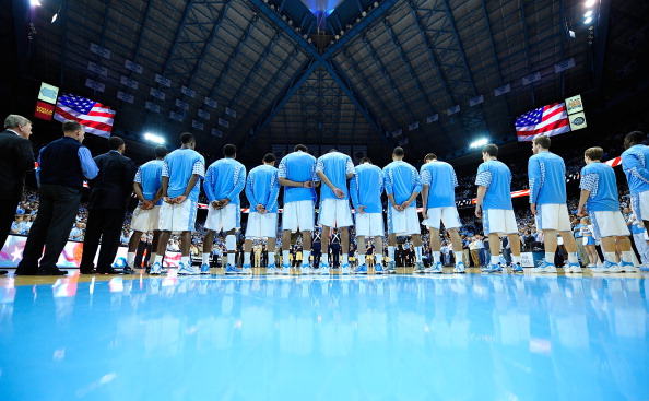 CHAPEL HILL, NC - JANUARY 23:  The North Carolina Tar Heels line up for the National Anthem before a game against the Georgia Tech Yellow Jackets at the Dean Smith Center on January 23, 2013 in Chapel Hill, North Carolina.  (Photo by Grant Halverson/Getty Images)