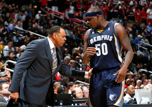 ATLANTA, GA - FEBRUARY 06:  Lionel Hollins of the Memphis Grizzlies pats Zach Randolph #50 on the side during the game against the Atlanta Hawks at Philips Arena on February 6, 2013 in Atlanta, Georgia.  NOTE TO USER: User expressly acknowledges and agrees that, by downloading and or using this photograph, User is consenting to the terms and conditions of the Getty Images License Agreement.  (Photo by Kevin C. Cox/Getty Images)