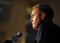 July 19, 2012; Hoover, AL, USA;  Ole Miss Rebels coach Hugh Freeze answers questions during the 2012 SEC media days press conference at the Wynfrey Hotel. Mandatory Credit: Kelly Lambert-USA TODAY Sports