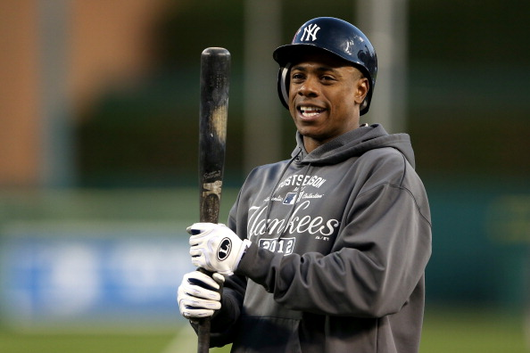 DETROIT, MI - OCTOBER 16:  Curtis Granderson #14 of the New York Yankees looks on during batting practice against the Detroit Tigers during game three of the American League Championship Series at Comerica Park on October 16, 2012 in Detroit, Michigan.  (Photo by Leon Halip/Getty Images)