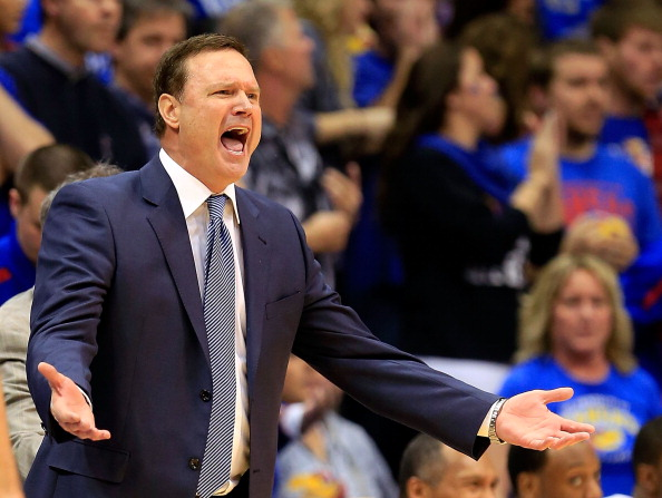 LAWRENCE, KS - JANUARY 09:  Head coach Bill Self of the Kansas Jayhawks reacts from the bench during the game against the Iowa State Cyclones at Allen Fieldhouse on January 9, 2013 in Lawrence, Kansas.  (Photo by Jamie Squire/Getty Images)