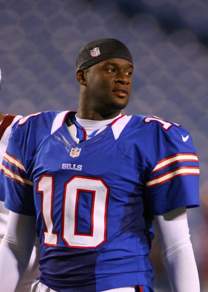 ORCHARD PARK, NY - AUGUST 09:  Vince Young #10 of the Buffalo Bills walks offsides the field after playing the Washington Redskins at Ralph Wilson Stadium on August 9, 2012 in Orchard Park, New York.Washington won 7-6.  (Photo by Rick Stewart/Getty Images)