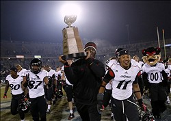 Dec 01, 2012; East Hartford, CT, USA; The Cincinnati Bearcats celebrate their win over the Connecticut Huskies for a Big East Championship title at Rentschler Field. Mandatory Credit: David Butler II-USA TODAY Sports