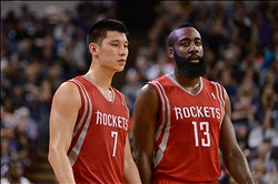 February 10, 2013; Sacramento, CA, USA; Houston Rockets point guard Jeremy Lin (7) and shooting guard James Harden (13) look on during the third quarter against the Sacramento Kings at Sleep Train Arena. The Kings defeated the Rockets 117-111. Mandatory Credit: Kyle Terada-USA TODAY Sports