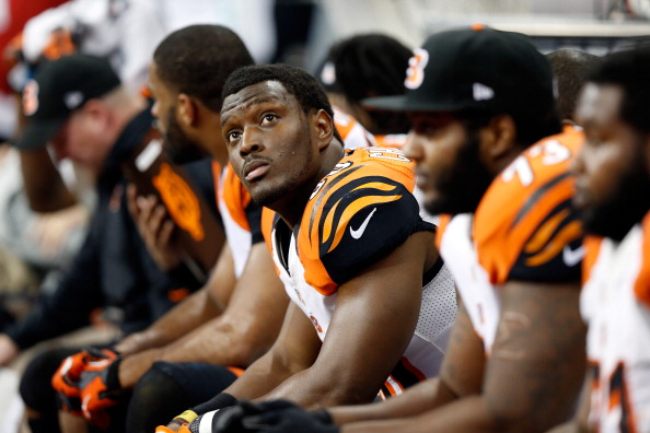 HOUSTON, TX - JANUARY 05:  Orson Charles #80 of the Cincinnati Bengals looks on from the bench against the Houston Texans during their AFC Wild Card Playoff Game at Reliant Stadium on January 5, 2013 in Houston, Texas.  (Photo by Scott Halleran/Getty Images)