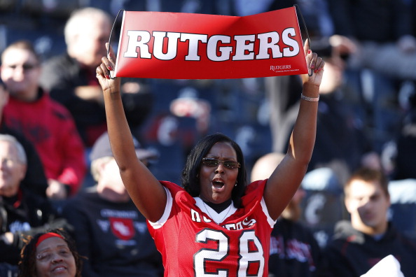 CINCINNATI, OH - NOVEMBER 17: Rutgers Scarlet Knights fan celebrates in the closing seconds of the game against the Cincinnati Bearcats at Nippert Stadium on November 17, 2012 in Cincinnati, Ohio. Rutgers won 10-3. (Photo by Joe Robbins/Getty Images)