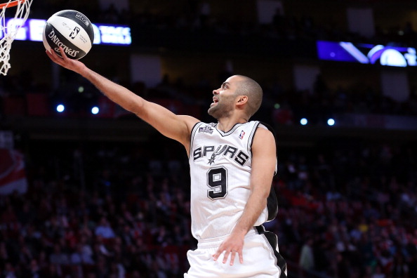 HOUSTON, TX - FEBRUARY 16:  Tony Parker of the San Antonio Spurs competes during the Taco Bell Skills Challenge part of 2013 NBA All-Star Weekend at the Toyota Center on February 16, 2013 in Houston, Texas. NOTE TO USER: User expressly acknowledges and agrees that, by downloading and or using this photograph, User is consenting to the terms and conditions of the Getty Images License Agreement.  (Photo by Ronald Martinez/Getty Images)