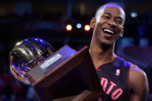 HOUSTON, TX - FEBRUARY 16:  Terrence Ross of the Toronto Raptors celebrates after winning the Sprite Slam Dunk Contest part of 2013 NBA All-Star Weekend at the Toyota Center on February 16, 2013 in Houston, Texas. NOTE TO USER: User expressly acknowledges and agrees that, by downloading and or using this photograph, User is consenting to the terms and conditions of the Getty Images License Agreement.  (Photo by Ronald Martinez/Getty Images)