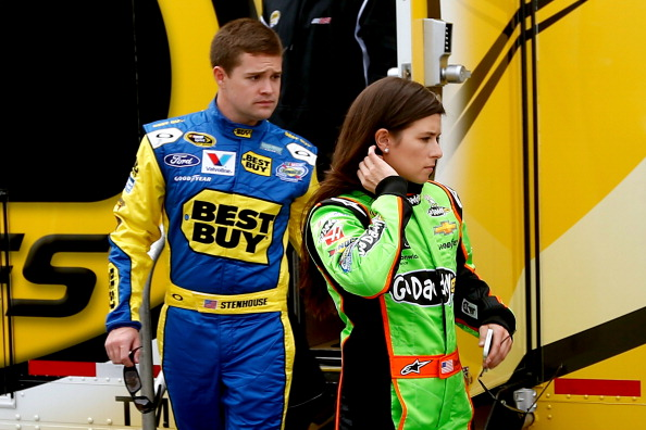DAYTONA BEACH, FL - FEBRUARY 16:  Drivers Danica Patrick and Ricky Stenhouse Jr. leave a rookie  meeting prior to practice for the NASCAR Sprint Cup Series Sprint Unlimited at Daytona International Speedway on February 16, 2013 in Daytona Beach, Florida.  (Photo by Chris Graythen/Getty Images)