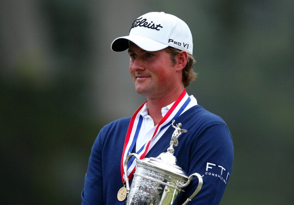 SAN FRANCISCO, CA - JUNE 17:  Webb Simpson of the United States poses with the trophy after his one-stroke victory at the 112th U.S. Open at The Olympic Club on June 16, 2012 in San Francisco, California.  (Photo by Ezra Shaw/Getty Images)